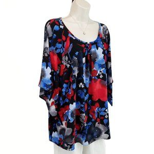 The Limited top kimono sleeve floral red blue 1X